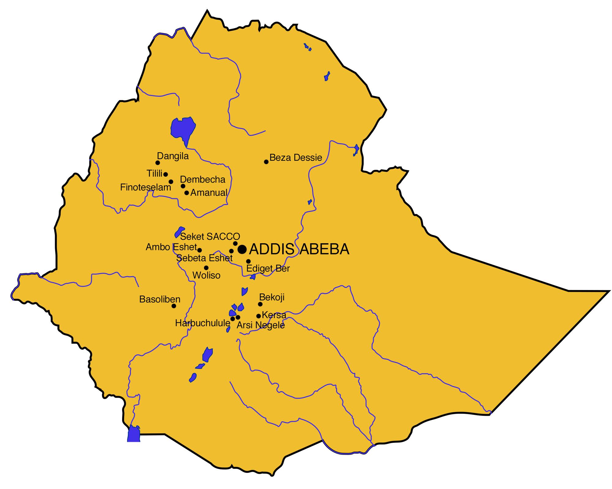 Karte von Äthiopien. Eingezeichnet die Programme von Swisshand.