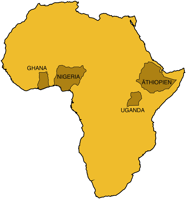 Karte von Afrika. Eingezeichnet die Länder in denen Swisshand. tätig ist.