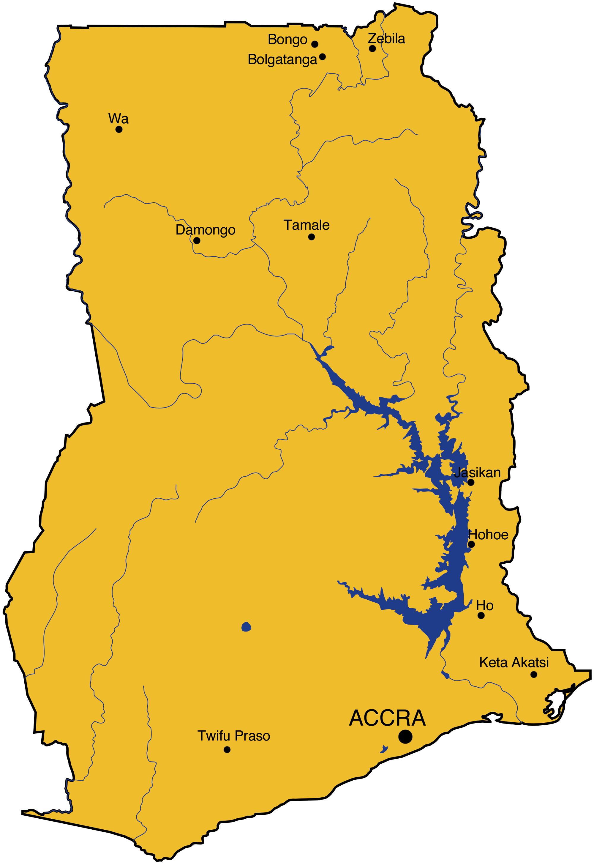 Karte von Ghana. Eingezeichnet die Programme von Swisshand.