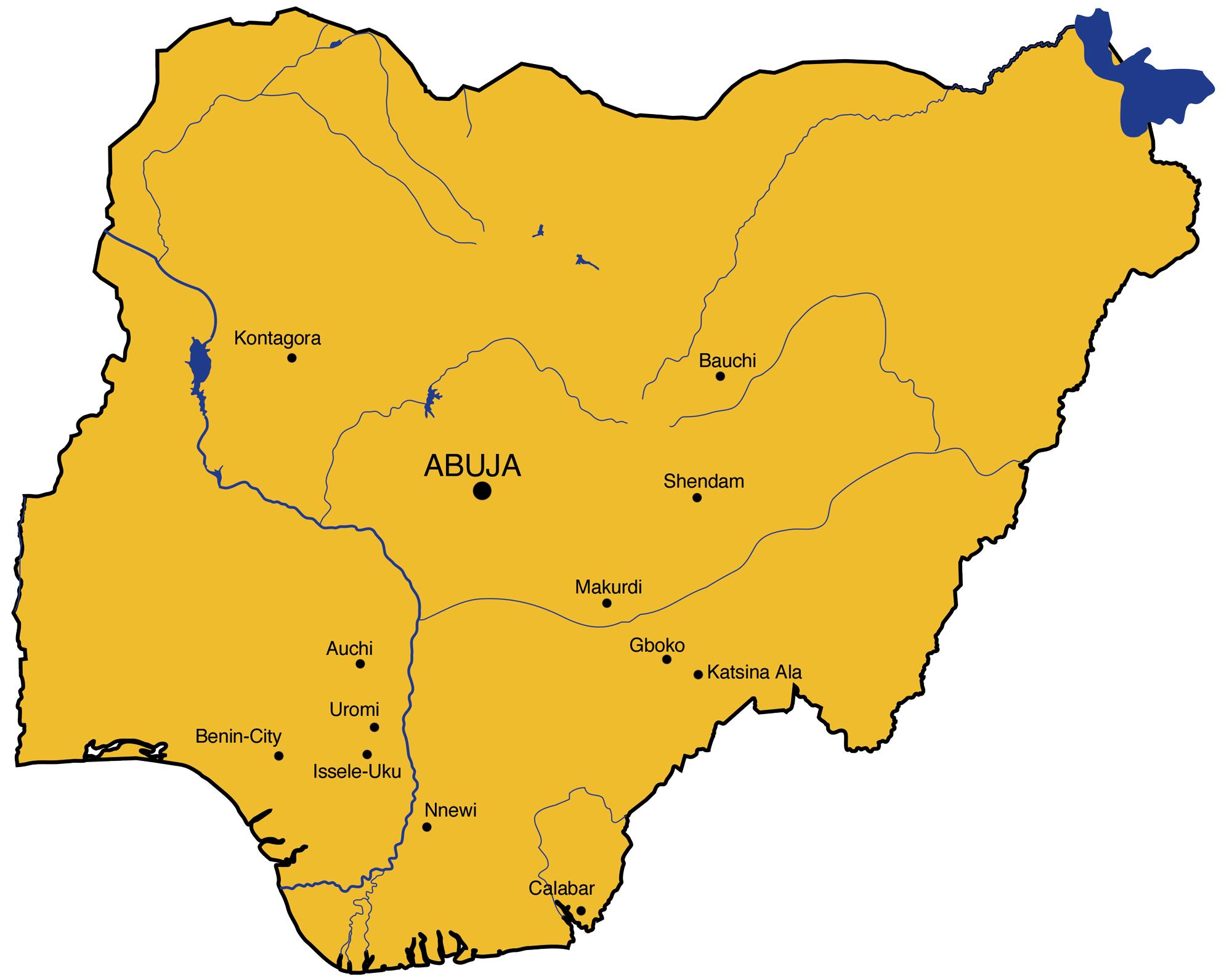 Karte von Nigeria. Eingezeichnet die Programme von Swisshand