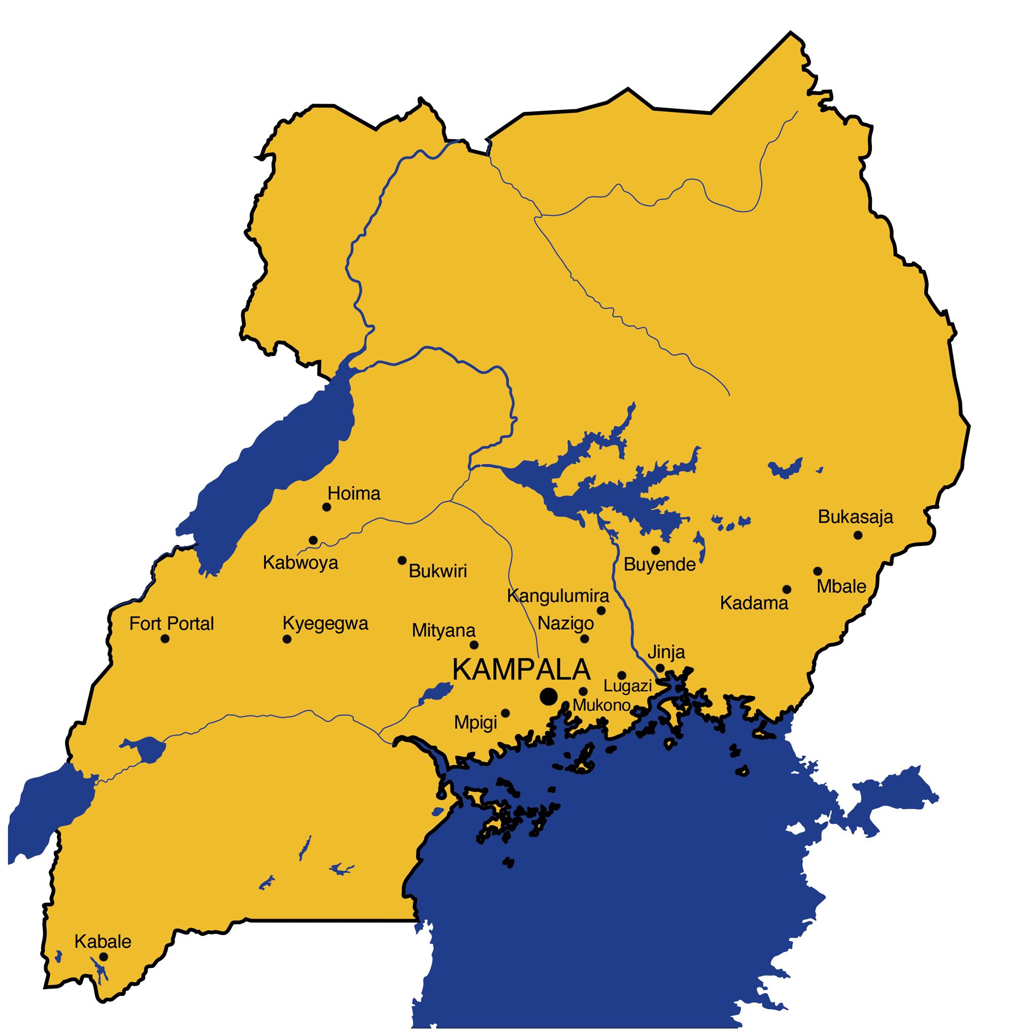 Karte von Uganda. Eingezeichnet die Programme von Swisshand